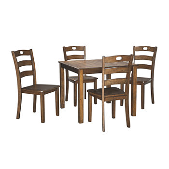 Fantastic Signature Design By Ashley Hazelteen 5 Piece Square Table Dining Set Machost Co Dining Chair Design Ideas Machostcouk