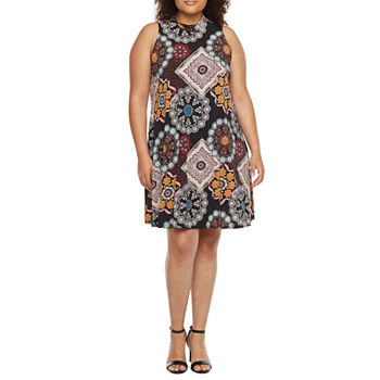 Robbie Bee-Plus Sleeveless Medallion Puff Print Swing Dresses