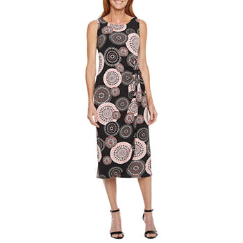 Robbie Bee-Petite Sleeveless Medallion Puff Print Maxi Dress