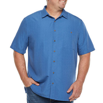 Campia Big and Tall Mens Short Sleeve Button-Down Shirt