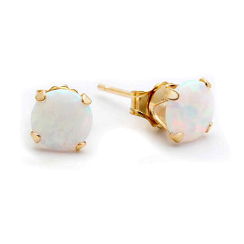 White Opal 10K Gold Stud Earrings