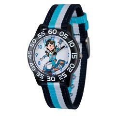 Disney Boys Blue and Black Striped Miles From Tomorrowland Time Teacher Strap Watch W003059