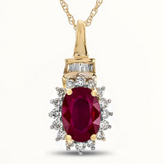 Womens 1/5 CT. T.W. Red Ruby 10K Gold Pendant Necklace