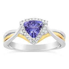 Womens 1/10 CT. T.W. Genuine Blue Tanzanite 10K Gold Crossover Ring