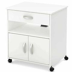 Axess Microwave Wood-Top Kitchen Cart