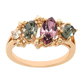 Sparkle Allure Crystal 14K Gold Over Brass Cocktail Ring Made With Swarovski Elements