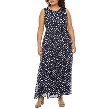 Be by CHETTA B-Plus Sleeveless Dots Maxi Dress