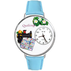 Whimsical Watches Personalized Quilt Womens Silver-Tone Bezel Light Blue Leather Strap Watch