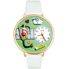 Whimsical Watches Personalized Nurse Womens Gold-Tone Bezel White Leather Strap Watch