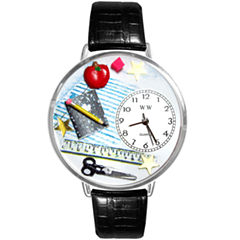 Whimsical Watches Personalized Teacher Womens Silver–Tone Bezel Black Leather Strap Watch