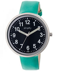 Simplify Unisex The 2600 Black Dial Teal Leather-Band Watch SIM2605