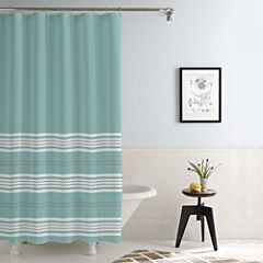 Pacific Coast Textiles Waterproof Racer Stripe Printed Shower Curtain Set