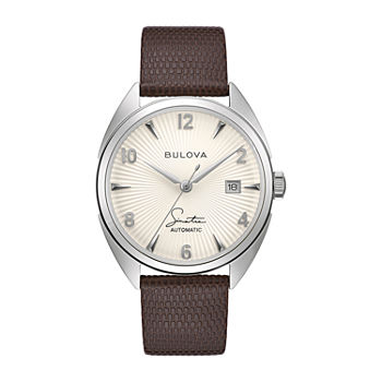 Bulova Frank Sinatra Mens Automatic Brown Leather Strap Watch-96b347