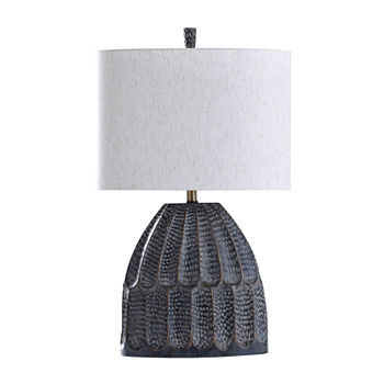 Stylecraft Transitional Black Hammered Texture Moulded Sage Finish Polyresin Table Lamp