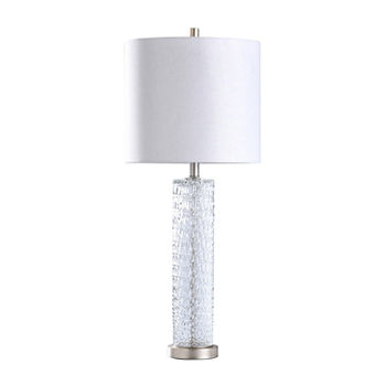 Stylecraft Diamond Textured Glass With Brushed Steel Base Table Lamp