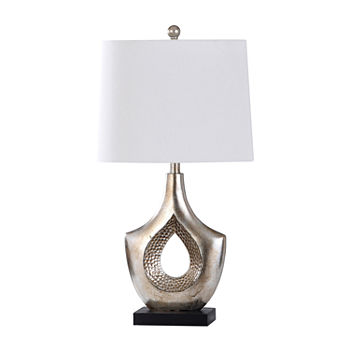 Stylecraft Contemporary Moulded Hammered Hollow Center And Black Base Silver Finish Polyresin Table Lamp