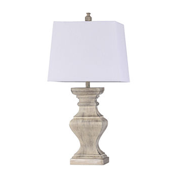 Stylecraft Square Candlestick Moulded White Finish Polyresin Table Lamp