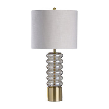 Stylecraft Round Clear Glass Finish Polished Steel Table Lamp