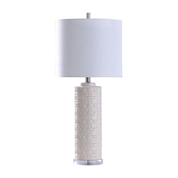 Stylecraft Transitional Textured Ceramic Cylinder White Finish Table Lamp