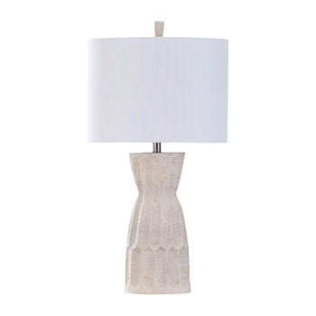 Stylecraft Transitional Ivory Hammered Texture Moulded White Finish Polyresin Table Lamp