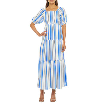 Melonie T Short Sleeve Striped Maxi Dress with Corrdinating Face Mask
