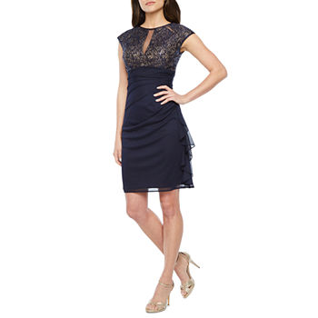 d1eac507a DJ Jaz Cap Sleeve Evening Gown. Add To Cart. New. Navy Nude