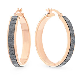 Rose Gold Over Silver Glitter 25mm Hoop Earrings