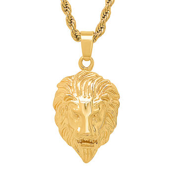 Steeltime Lion Mens 18K Gold Over Stainless Steel Pendant Necklace