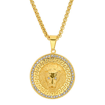 Steeltime Lion Mens Cubic Zirconia 18K Gold Over Stainless Steel Pendant Necklace