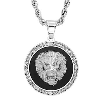 Steeltime Lion Mens Cubic Zirconia Stainless Steel Pendant Necklace