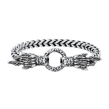 Steeltime Stainless Steel 8 1/2 Inch Solid Link Chain Bracelet