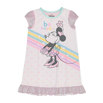Disney Toddler Girls Minnie Mouse Short Sleeve Crew Neck Nightshirt
