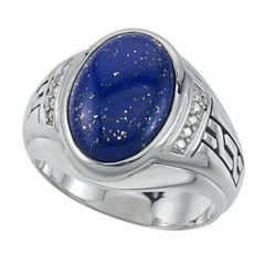 Mens Genuine Oval Blue Lapis