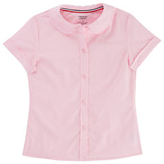 French Toast Short Sleeve Peter Pan Blouse - Girls Big Kid
