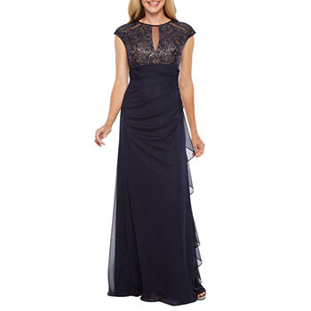 86a020ecf2e6 DJ Jaz Cap Sleeve Embellished Evening Gown. Add To Cart. New. Navy Nude