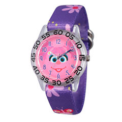 Sesame Street Girls Purple Flower Abby Cadabby Time Teacher Strap Watch W003158