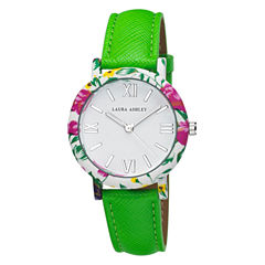 Laura Ashley Ladies Green Band Floral Bezel Watch La31003Gr