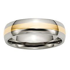 Mens 6Mm Titanium & 14K Yellow Gold Inlay Wedding Band