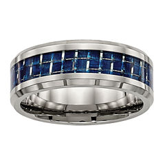Mens Titanium & Blue Carbon Fiber Wedding Band