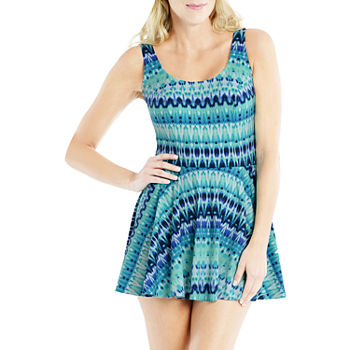 Sonnet Shores Womens Tonal Swim Dress