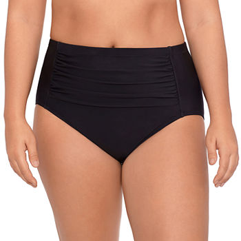Sonnet Shores Shirred Front Womens High Waist Bikini Swimsuit Bottom Plus