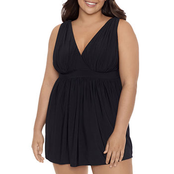 Sonnet Shores V Neck Womens Swim Dress Plus