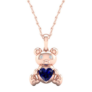 Gender Reveal Womens Lab Created Blue Sapphire 14K Rose Gold Over Silver Pendant Necklace