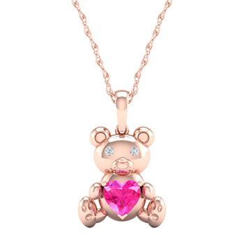 Gender Reveal Womens Lab Created Pink Sapphire 14K Rose Gold Over Silver Pendant Necklace