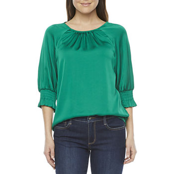 Worthington Womens Round Neck 3/4 Sleeve Satin Blouse