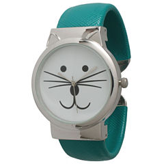 Olivia Pratt Womens Tomcat Dial Teal Leather Cuff Watch 13895