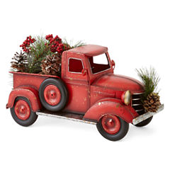 North Pole Trading Co. Winter Lodge Red Farm Truck with Florals