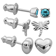 3 Pair Blue Crystal Sterling Silver Earring Sets