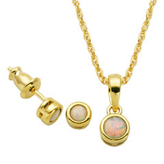 Girls 2-pc. White Opal 18K Gold Over Silver Jewelry Set