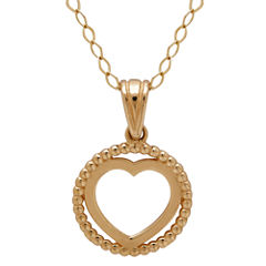 Infinite Gold™ 14K Yellow Gold Circle Heart Pendant Necklace